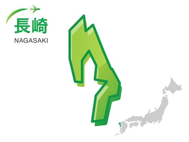 長崎県の地図:イラスト素材