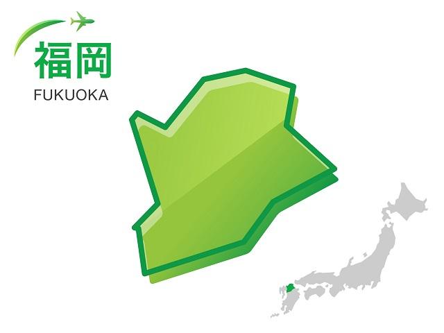 福岡県の地図:イラスト素材